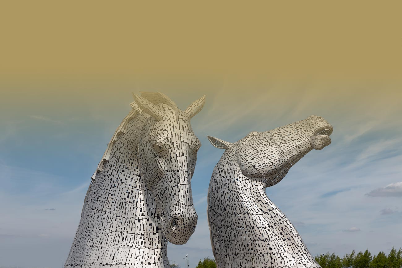 "Pictured above, ""The Kelpies"" near Falkirk in Scotland, 30 miles from Fistral's office in Glasgow"